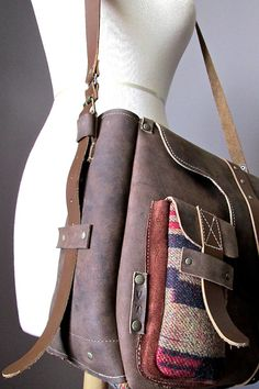 Leather messenger bag with wool details  unisex by VitalTemptation