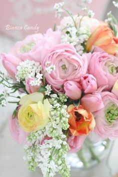 Floral Arrangement ~ white, pink, yellow, orange