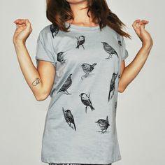 Camiseta feminina BIRDS, modelagem boyfriend