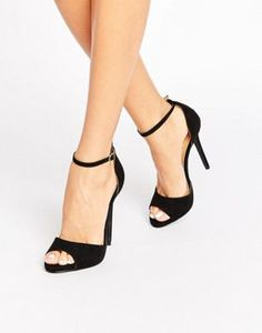 Public Desire Saydee Ankle Strap Black Heeled Sandals