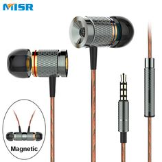 MISR XD3  Wired In-Ear Earphone headset magnetic with Mic Microphone Stereo Bass for phone iphone samsung huawei xiaomi //Price: $9.53//     #shop