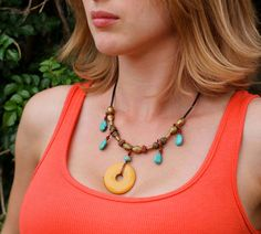 Colorful Necklace Bohemian Jewelry Turquoise Necklace African Trade Bead Jewelry. $54.00, via Etsy.