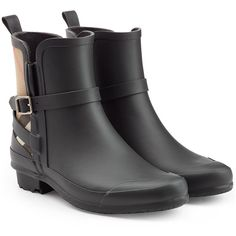 Burberry Shoes & Accessories Matte Rubber Rain Boots (455 CAD) ❤ liked on Polyvore featuring shoes, boots, black, wellington boots, rubber rain boots, black shoes, rubber boots and wellington rubber boots