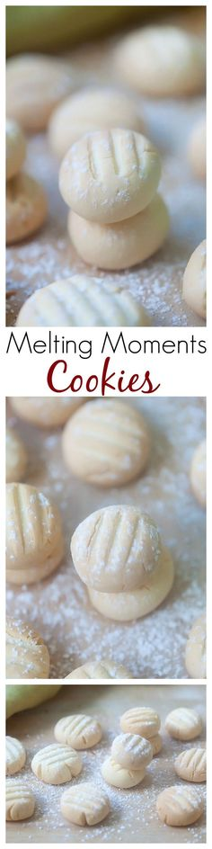 Melting Moments Cookies - the most crumbly, buttery, and delicious cookies ever. So easy to make but yields the best melting moments cookies. Baking Recipes, Cookie Recipes, Dessert Recipes, Tea Cakes, Holiday Baking, Christmas Baking, Christmas Cookies, Melting Moments Cookies, Cookies Decorados