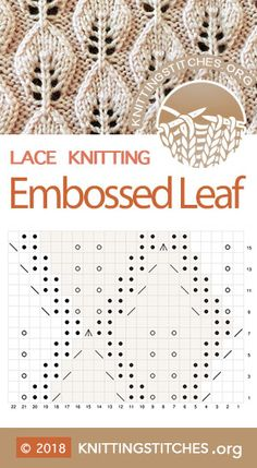 Embossed vine and leaves chart, fun pattern to knit. Techniques used: Knit and Purl, Yarn over, SSK, knitting techniques Embossed Leaf Knitting Humor, Knitting Blogs, Knitting Charts, Easy Knitting, Loom Knitting, Knitting Ideas, Leaf Knitting Pattern, Lace Knitting Stitches, Lace Knitting Patterns