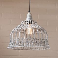 Industrial Flower Cage Pendant Light Weathered Zinc New Farmhouse Lighting Wire Pendant Light, Lantern Pendant, Pendant Lighting, Farmhouse Lamps, Farmhouse Lighting, Modern Farmhouse, Primitive Lighting, Farmhouse Style, Ceiling Fan Chandelier