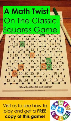 """Want a fun, no-prep multiplication facts game to use in your math centers tomorrow? Read about how we've """"mathified"""" the popular squares game to practice multiplication facts! Math Stations, Math Centers, Ec 3, Eureka Math, Math Multiplication, Third Grade Math, Math Numbers, Math Workshop, Homeschool Math"""
