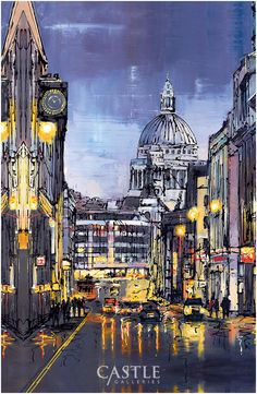 Cathedral Calling - a signed limited edition boxed canvas of 25 by contemporary cityscape artist, Paul Kenton.  Exploring moods and feelings are the backbone of Kenton's creations, very often painting places he has visited throughout his life; Kenton tries to relive his feelings and memories of those cities, portraying them on canvas.