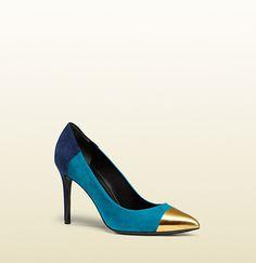 Gucci - cap toe multicolor suede pump 353716BRK808086