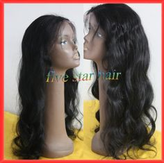 "Find More Wigs Information about Cheap good quality high density 180% instock long 16"" 26"" jet black wavy human hair virgin Brazilian glueless full lace wigs,High Quality lace goods,China wig hairband Suppliers, Cheap lace wig tape adhesive from Five star human hair products store  on Aliexpress.com"