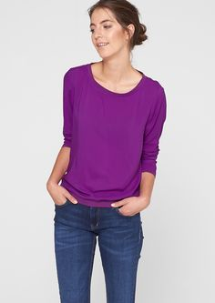 Blouse with sweatshirt fabric cuffs in the s.Oliver Online Shop