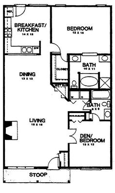 Floor Plans AFLFPW02139 - 1 Story Country Home with 2 Bedrooms, 2 Bathrooms and 1,350 total Square Feet