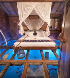 Sleeping on water - literally - or rather in an aquarium ; ) glass bottom Bedroom!