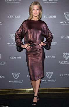 Toni Garrn steals the spotlight in sexy backless metallic frock at the opening of the Gucci Museo 'Forever Now' exhibit in Brazil   Mail Online