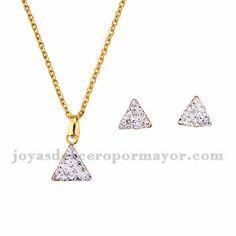 juego collar y aretes de triangulo brillante en acero dorado inoxidable…