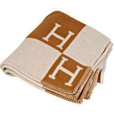 Cashmere Classic Hermes Creme & Tan throw