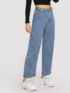 To find out about the Button Decoration Wide Leg Jeans at SHEIN, part of our latest Jeans ready to shop online today! Ripped Jeggings, Ripped Skinny Jeans, Wide Leg Jeans, High Waist Jeans, Loose Jeans, Jeans Size, Boyfriend Jeans, Mom Jeans, Denim Jeans