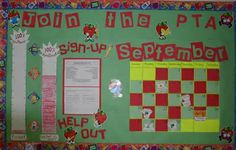 The PTA bulletin board, updated on a monthly basis.
