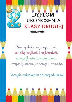 Dyplom ukończenia klasy 2 Education, School, Children, Techno, Diy, Speech Language Therapy, Polish, Young Children, Boys