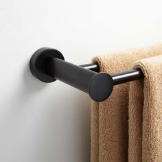 Golf Clubs Repurposed - Give towels more space to store and dry with the Prague Collection Double Towel Bar. Sporting sleek, rounded features, this solid brass towel bar is built to last. Bathroom Towel Decor, Bathroom Spa, Bathroom Signs, Bathroom Curtains, Bathroom Shelves, Bathroom Fixtures, Bathroom Ideas, Hall Bathroom, Bathroom Renos