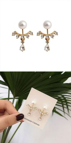 Color: As the pictureEarring Material:Pearl/Rhinestone/Alloy/SilverStyle:Fashion/SweetFashion Element:Water Droplets/Pearl Gold Drop Earrings, Cute Earrings, Feather Earrings, Teardrop Earrings, Vintage Earrings, Crystal Earrings, Sterling Silver Earrings, Earrings Handmade, Elephant Earrings