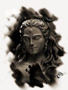 Shiva by CagdasArt God Tattoos, Body Art Tattoos, Sleeve Tattoos, Black White Tattoos, Black And White Drawing, Tatoo Hindu, Mahadev Tattoo, Ozzy Tattoo, Shiva Tattoo Design