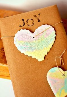 Rainbow Marbled Salt Dough Ornaments or Gift Tags
