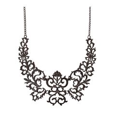 Black Bib Necklace Exaggerated Necklace Hollow Floral Metal Necklaces – Jane Stone
