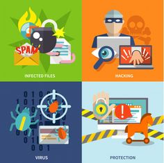 Buy Hacker Icons Flat Set by macrovector on GraphicRiver. Hacker flat icons set with infected files hacking virus protection isolated vector illustration. Editable EPS and Ren. Removal Services, Vector Photo, Illustrator Tutorials, Icon Set, Free Design, Vector Free, Flat Icons, Illustration, Projects