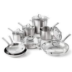 This Calphalon Classic Cookware Set features durable, stainless steel construction with impact-bonded aluminum bases for even heating on any cooktop, including induction. Brushed exterior finish ensures a deep, long-lasting shine. Cast Iron Cookware, Cookware Set, Induction Cookware, Stainless Steel Pot, Pots And Pans Sets, Glass And Aluminium, Pan Set, Fun Cooking