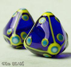 GeoBeads  one pair of artisan lampwork beads by GlassGeoBeads, $15.00 ETSY <3<3<3
