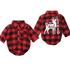 a1e839ff3 Pudcoco Baby Girls And Boys Unisex Clothes Christmas Plaid Rompers Newborn  Baby Monthes Fits One Piece Suit Cartoon Elk New