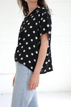 Polka dot blouse 90s black and white polka dot print button front short sleeve shirt. minimal. minimalist. vintage. by youngandukraine