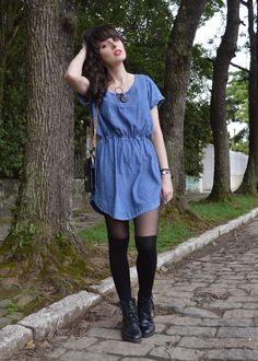 Look vestido jeans blog Ela Inspira - http://www.elainspira.com.br/look-perfect-symmetry/