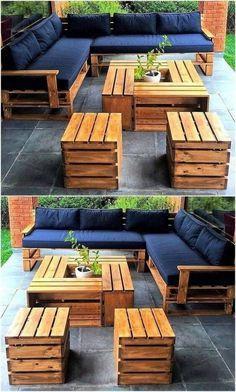 Pallet Garden Furniture, Outdoor Furniture Design, Furniture Projects, Diy Furniture, Modern Furniture, Rustic Furniture, Fireplace Furniture, Furniture Stores, Furniture Makeover