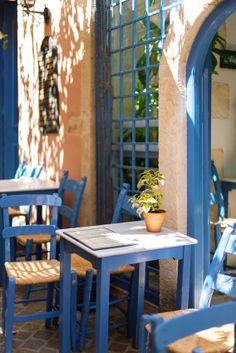 Cafe in Hania, Crete island, Greece Crete Island, Greece Islands, Crete Greece, Santorini Greece, Athens Greece, Greek Cafe, Sidewalk Cafe, Bar Restaurant, Outdoor Furniture Sets