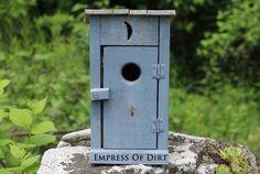 Blue outhouse birdhouse - Blue & White Garden Art & Decor Ideas #sponsored