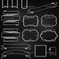 Coleção de banners de estilo de quadro-negro, fitas e quadros de vetor