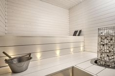 A nice, bright & cosy sauna Sauna Steam Room, Sauna Room, Mini Sauna, Sauna Lights, Sauna Shower, Sauna Design, Outdoor Sauna, Finnish Sauna, Spa Rooms