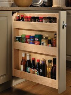 Base Pull-Out Spice Rack - traditional - Kitchen - Other Metro - Wood-Mode Fine Custom Cabinetry Fine Furniture, Kitchen Furniture, Kitchen Decor, Kitchen Design, Furniture Projects, Wood Furniture, Kitchen Cabinet Storage, Kitchen Cabinetry, Kitchen Organization