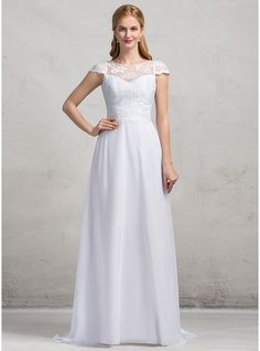 A-Line/Princess Scoop Neck Sweep Train Chiffon Lace Wedding Dress With Bow(s) (002083690)