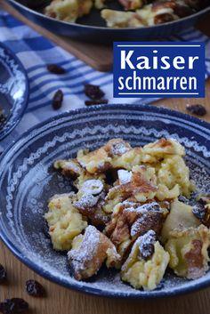 Kaiserschmarren met rozijnen (ingrediënten: rozijnen, sinaasappelsap, ei, suiker, melk, zelfrijzend bakmeel) (@ Brenda Kookt)