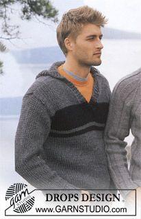 New Knitting Men Sweater Pattern Drops Design Ideas Pull Crochet, Crochet Men, Crochet Hoodie, Drops Design, Poncho Knitting Patterns, Crochet Patterns, Hoodie Pattern, Mens Knit Sweater Pattern, Men Sweater