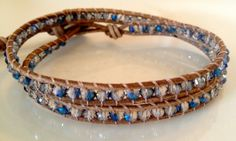 tan leather - blue and clear crystals - leather wrap bracelet - www.bellamink.com