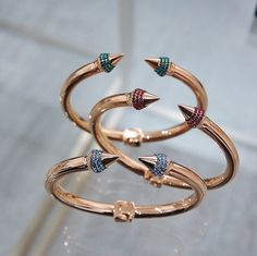 Candy-colored Mini Titan Crystal Bracelets in Sapphire, Ruby, and Emerald.