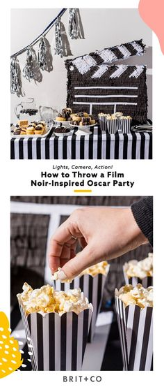 Lights, camera, action! Save this to learn how to throw a DIY film noir-inspired Oscar viewing party.