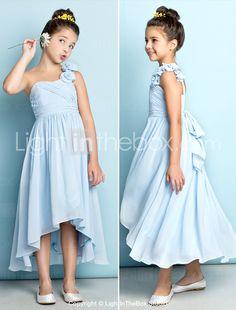 dc23800e5c   89.99  A-Line One Shoulder Asymmetrical Chiffon Junior Bridesmaid Dress  with Criss Cross   Flower by LAN TING BRIDE®   Natural   Mini Me