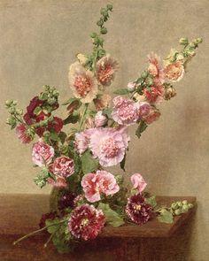 Henri Fantin-Latour - Roses trémières / Hollyhocks 1889 oil on canvas Henri Fantin Latour, Art Floral, Floral Design, Still Life Flowers, Hollyhock, Still Life Art, Botanical Art, Flower Art, Flower Arrangements