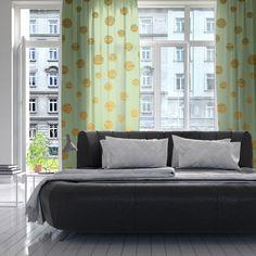"Nika Martinez ""Golden Dots and Mint"" Green Gold Decorative Sheer Curta | KESS InHouse #kess #inhouse #gold #glitter #curtain #mint #green #home #decor #interior #design #decorative #sheer #curtain #living #lovemydecor #nikamartinez #polka #dots #"