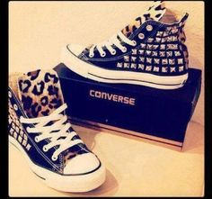 Dont like converse but i love these. Black and leopard print studded  converse 3ad71f6ab68